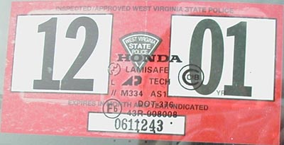 2012 Virginia State Inspection Sticker http://www.bufs-plates.com/wv.html
