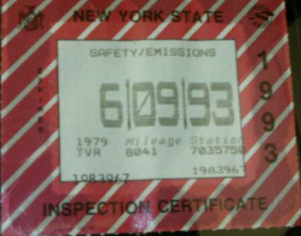 Left: June 9, 1993 expiration computer-generated Safety/Emissions sticker
