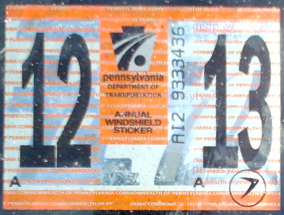 New car inspection sticker pa 17