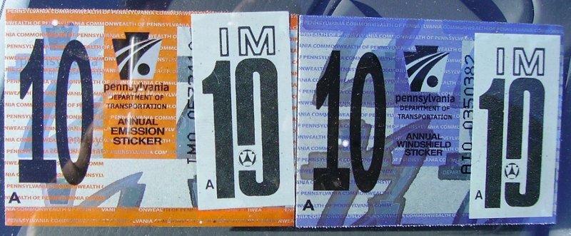 Pennsylvania windshield stickers 2010-present